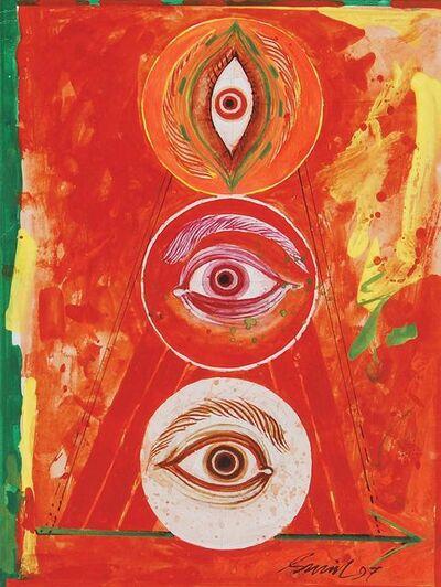 "Sunil Das, 'Durga 97, Mixed Media on Board, Red, Yellow, Green by Padma Shree Artist Sunil Das ""In Stock""', 1997"
