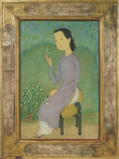 Mai Trung Thứ, 'Jeune femme à la fleur (Young lady with a flower)', 1954
