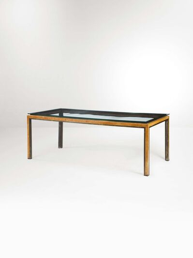 Attributed to Romeo Rega, 'A wooden table with a briar root and brass lining', 1970 ca.