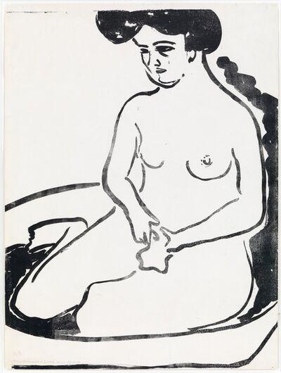 Ernst Ludwig Kirchner, 'Großer Mädchenakt in Badetub', 1909