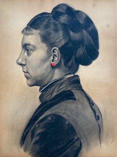 Jonathan Monk, 'Pierced Portraits #32 (Woman in Black Dress)', 2005
