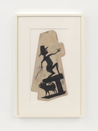 Bill Traylor, 'Man with Cane on Construction, with Dog', 1939-1942