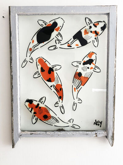 "Jeremy Novy, '""5 Koi - Left"" Spray paint on found glass in pale blue window wood frame', 2021"
