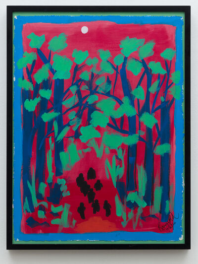 Faith Ringgold, 'Coming to Jones Road Study #2: A Chalk White Moon in a Blood-Red Sky', 2000