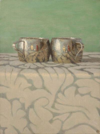 Olga Antonova, 'Silver Cups on Patterned Cloth', 2015