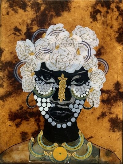 "Janice Frame, ' ""Gentle Woman"" Mixed media portrait of a woman with gold and white flora in her hair', 2020"