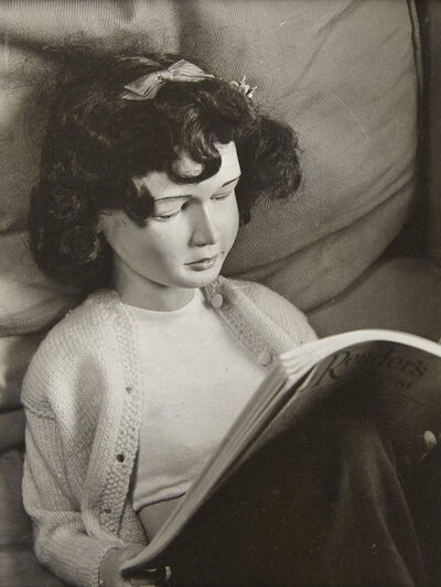 """Morton Bartlett, '[Doll Reading """"Readers Digest,"""" Portrait from """"Family Found""""]', 1935-1965"""