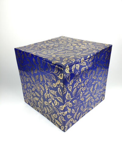 Ming Lu, 'A cube with gilded intertwined branches and flowers on a blue ground', 2020