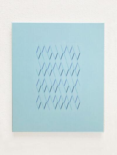 Isaac Chong Wai, '113 lines in blue', 2019