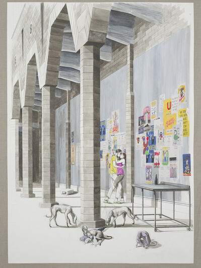 Charles Avery, 'Untitled (Courting couple and beasts under the city wall)', 2020