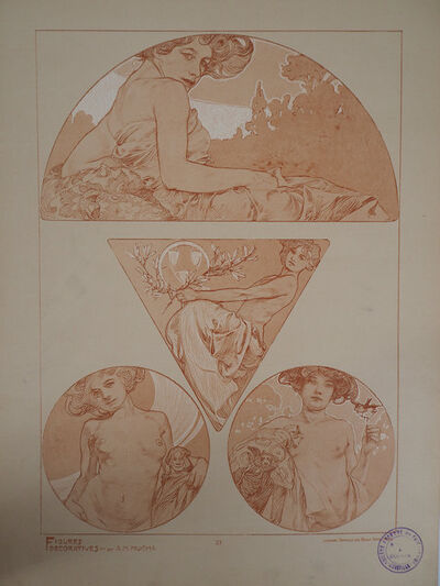 Alphonse Mucha, 'Woman with revealed breasts', 1902
