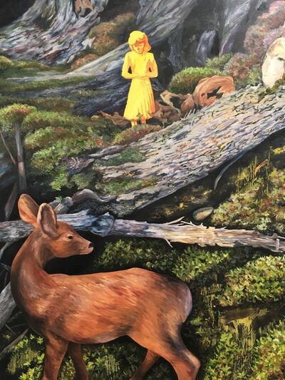 Kendra Lynn Bulgrin, 'Yellow woman in the woods with deer', 2017