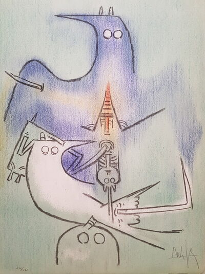 "Wifredo Lam, 'Arbre de Plumes - from the suite ""Pleni Luna""', 1974"