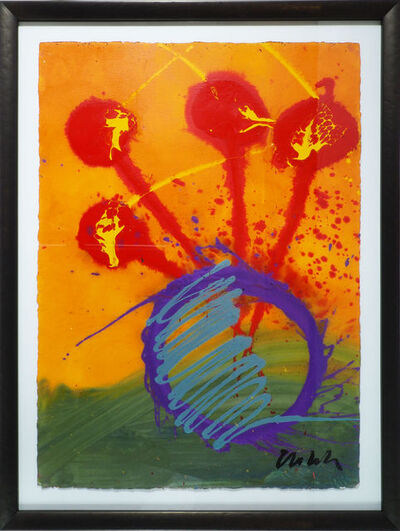 Dale Chihuly, 'Dale Chihuly Original Orange Ikebana Drawing  Contemporary Acrylic Painting', ca. 2004