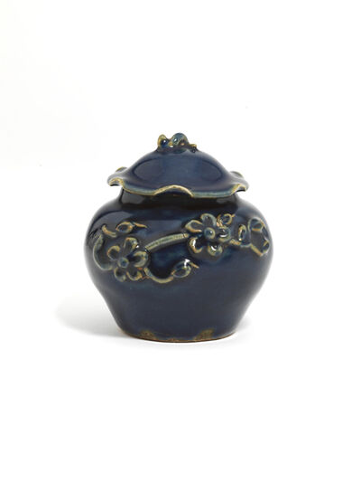 Unknown Chinese, 'A small blue-glazed 'flower and lotus' jar and cover ', Yuan Dynasty (1279-1368 AD)