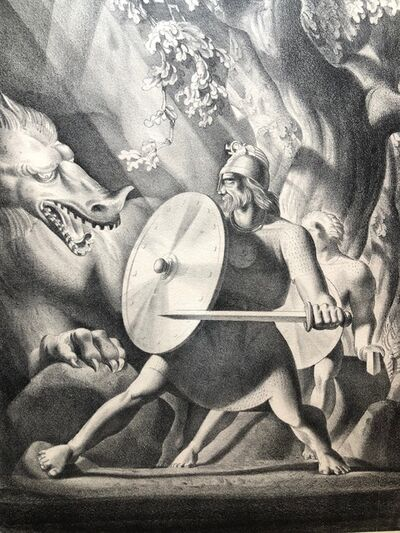 Rockwell Kent, 'Beowulf and the Dragon', 1931