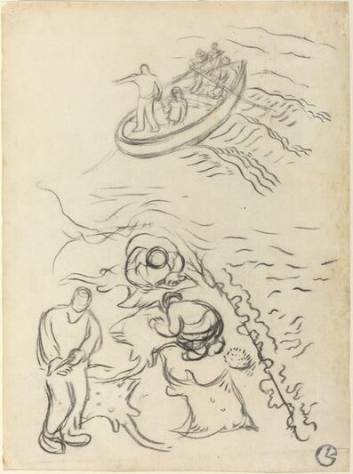 """Georges Lacombe, 'Study for """"The Fishermen"""" with Men Emptying the Nets (Etude pour """"Les Pêcheurs"""" et hommes vidant des raies)', 1894/1895"""