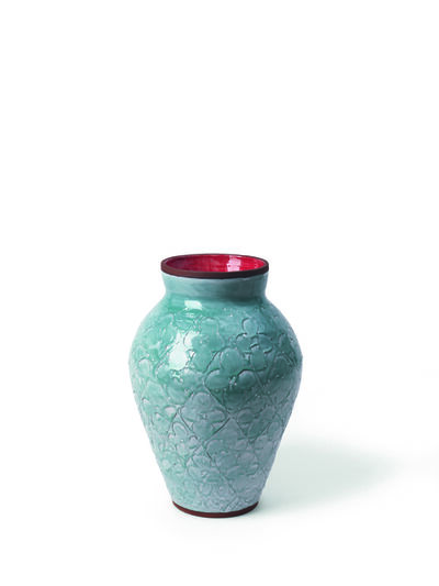 Judy Ledgerwood, 'Large Scored Motif Vase with Blue-Green + Red', 2018