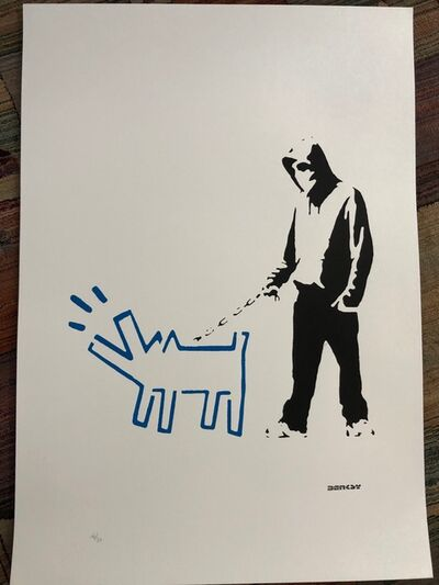 After Banksy, 'Hoodie & Haring Dog (Blue)', 2017