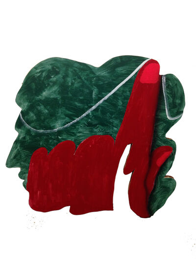 James English Leary, 'Cameo (Red Finger w/ Thread on Green Head)', 2018