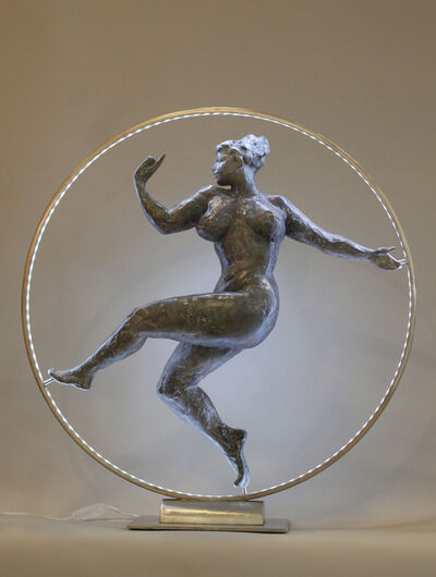 Elisabeth Cibot, 'Women in a leds light circle', 2006