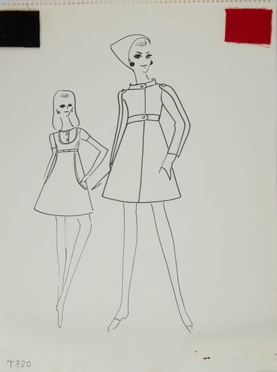 Karl Lagerfeld, 'Karl Lagerfeld Original Fashion Sketch Ink Drawing with Fabric T-720', 1963-1969