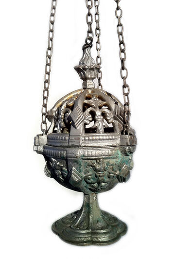 Biblical, 'Thurible - a rare ornate church incense burner, possibly French, or from Flanders ', ca. 1880