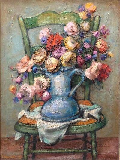 Samuel Heller, 'Mid century Post Impressionist Floral Oil Painting', Mid-20th Century