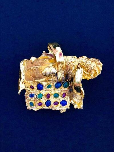 Igael Tumarkin, 'Gold Gilt Bronze Sculpture Brooch Art Israeli Tumarkin Abstract Surrealist ', 1960-1969