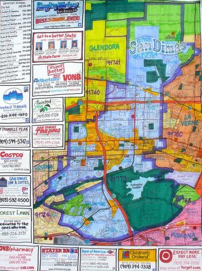 Joe Zadivan, 'Street Map of San Dimas, California', 2015