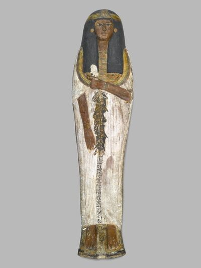 Unknown Artist, 'Coffin of the Lady of the House, Weretwahset, Reinscribed for Bensuipet Containing Face Mask and Openwork Body Covering', ca. 1292 BCE