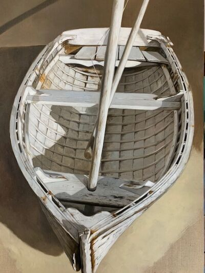 """Michel Brosseau, '""""At Rest"""" Photorealistic oil painting of a white dinghy and oars', 2019"""