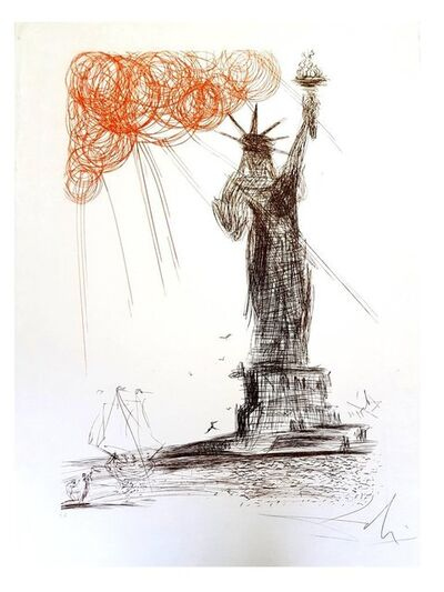 "Salvador Dalí, 'Original Etching ""New-York : Statue of Liberty"" by Salvador Dali', 1964"