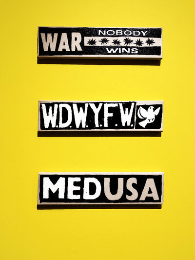 "B. Thom Stevenson, '""MEDUSA"", ""WAR Nobody Wins"", ""W.W.D something""', 2019"