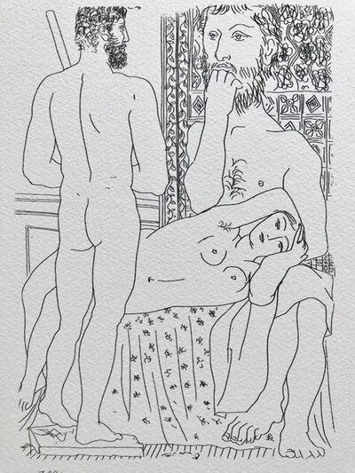 Pablo Picasso, 'Sculpteur modèle couché et autoportrait en Hercule sculpté (Suite Vollard Planche XXXVII)', 1973