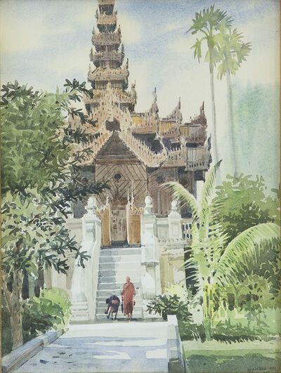 Khin Maong Sann, 'Monks On Steps In Front Of Monastery', undated