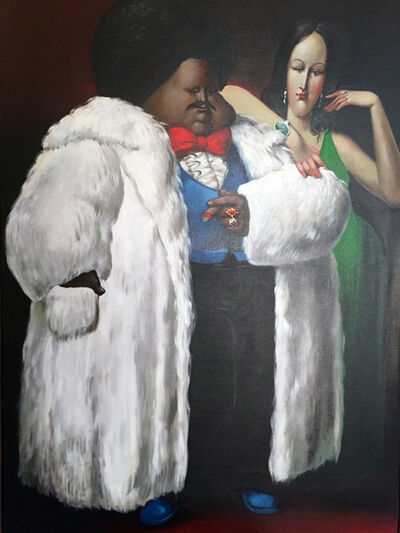 Leandro Velasco, 'Man in Fur Coat with Lady in Green', 1977