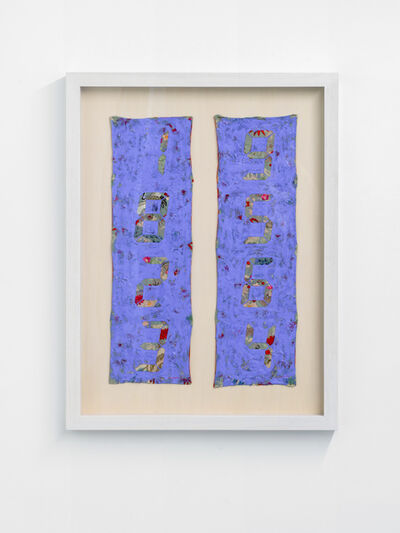 Tatsuo Miyajima 宮島 達男, 'Counter Painting on Kimono Sode - Blue Violet', 2013