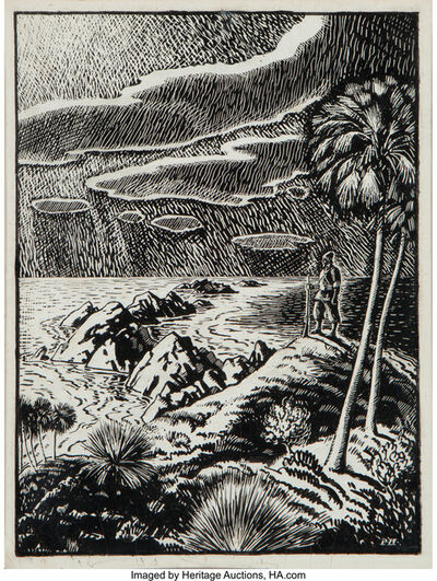 Peter Hurd, 'Robinson Crusoe, Great Stories of the Sea & Ships interior book illustration'