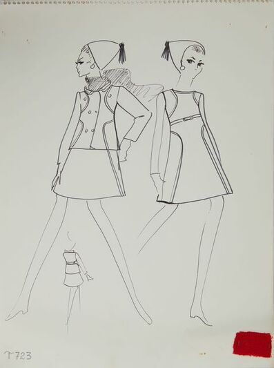 Karl Lagerfeld, 'Karl Lagerfeld Original Fashion Sketch Ink Drawing with Fabric T-723', 1963-1969