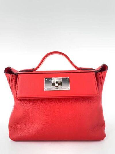 Hermès, 'A Rouge de Coeur & Rose Mexico Swift n Evercolor Mini 24/24 Bag with Palladium Hardware', 2020