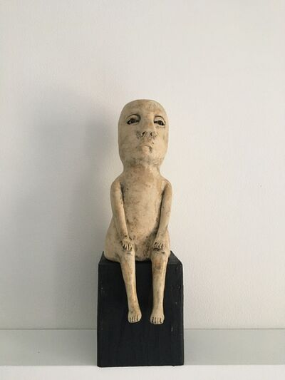 Ashley Benton, 'Ceramic figure on wood block: 'Enough of this'', 2021