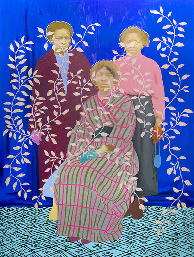 Daisy Patton, 'Untitled (Three Women with Blue Curtain and Silver and Yellow Leaves)', ca. 2019