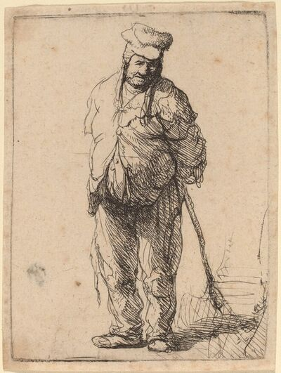 Rembrandt van Rijn, 'Ragged Peasant with His Hands behind Him, Holding a Stick', ca. 1630