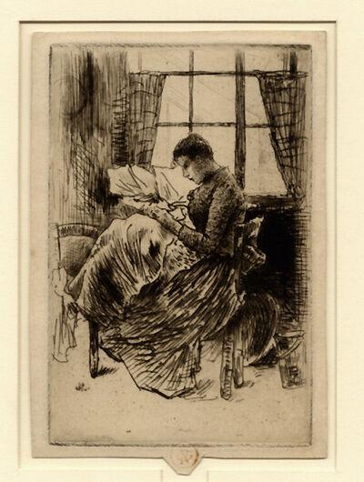 Norbert Goeneutte, 'Jeune fille cousant', 1877
