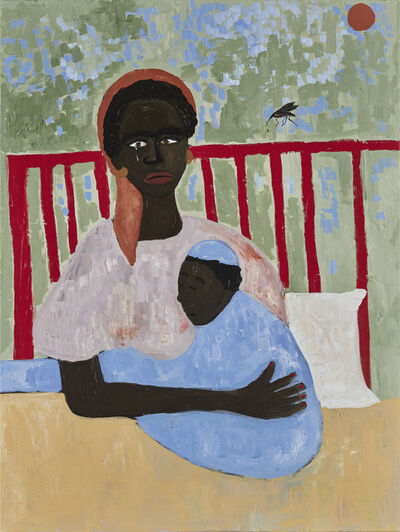 Cassi Namoda, 'Cyclone Idai and a mother's embrace with beloved son one late night in Beira Town (Dedicated to my family and all those who were victims of Cyclone Idai / 2019-2020)', 2020