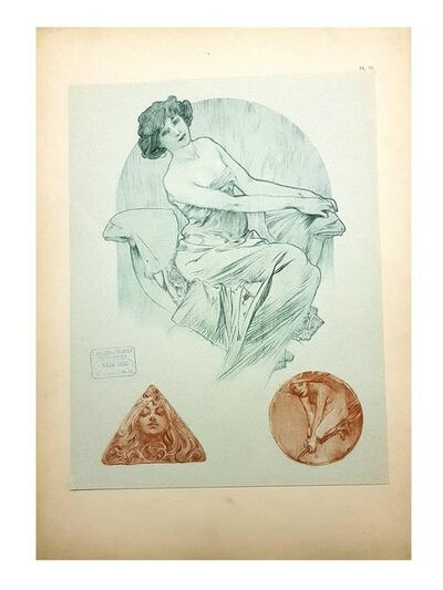 "Alphonse Mucha, 'Original Lithograph ""Three Woman"" By Alphonse Mucha', 1902"