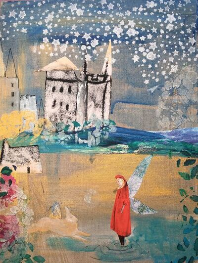 Claire Westwood, 'Red Cloak And Castle, Original, collage, pen, metallic paint, stencil, pearlised', 2019