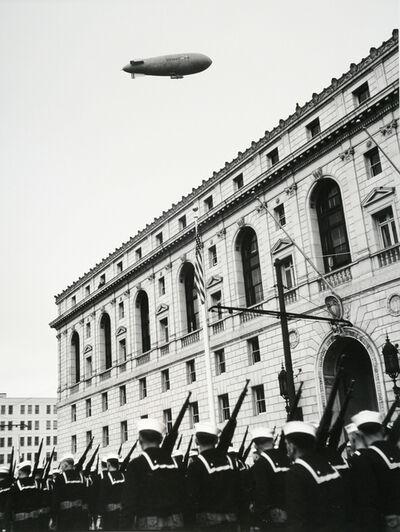 John Gutmann, 'Sailors in Parade with Navy Blimp', 1934