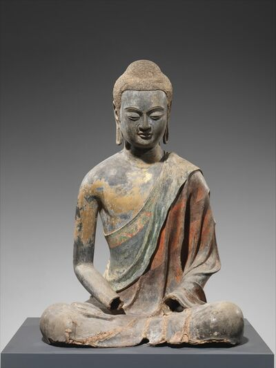 Unknown Chinese, 'Buddha, Probably Amitabha (Amituofo) (唐 彩繪漆金夾紵阿彌陀佛像)', early 7th century